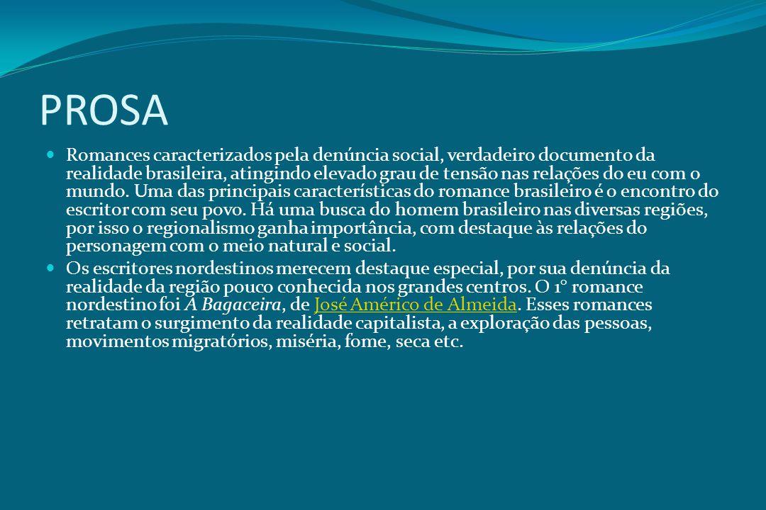 PROSA Romances caracterizados pela denúncia social, verdadeiro documento da realidade brasileira, atingindo elevado grau de tensão nas relações do eu
