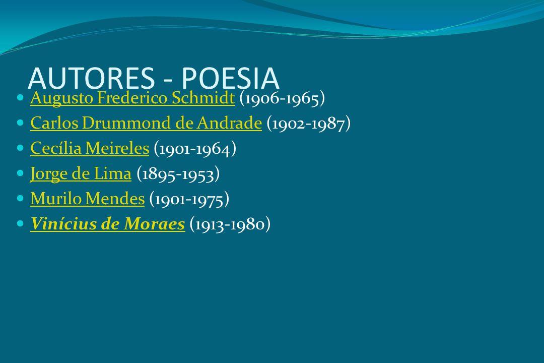 AUTORES - POESIA Augusto Frederico Schmidt (1906-1965) Augusto Frederico Schmidt Carlos Drummond de Andrade (1902-1987) Carlos Drummond de Andrade Cec