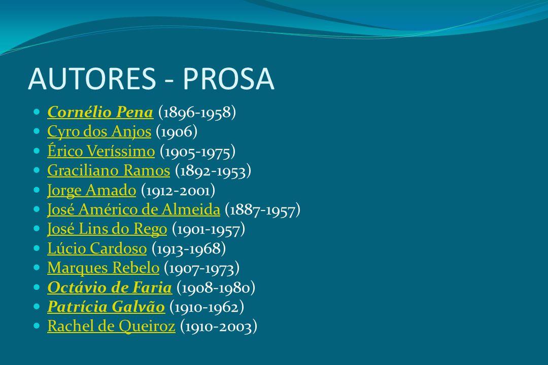 AUTORES - PROSA Cornélio Pena (1896-1958) Cornélio Pena Cyro dos Anjos (1906) Cyro dos Anjos Érico Veríssimo (1905-1975) Érico Veríssimo Graciliano Ra