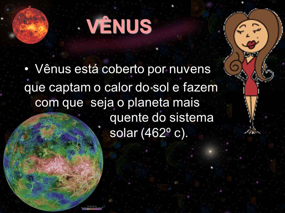 VÊNUS Vênus está coberto por nuvens que captam o calor do sol e fazem com que seja o planeta mais quente do sistema solar (462º c).