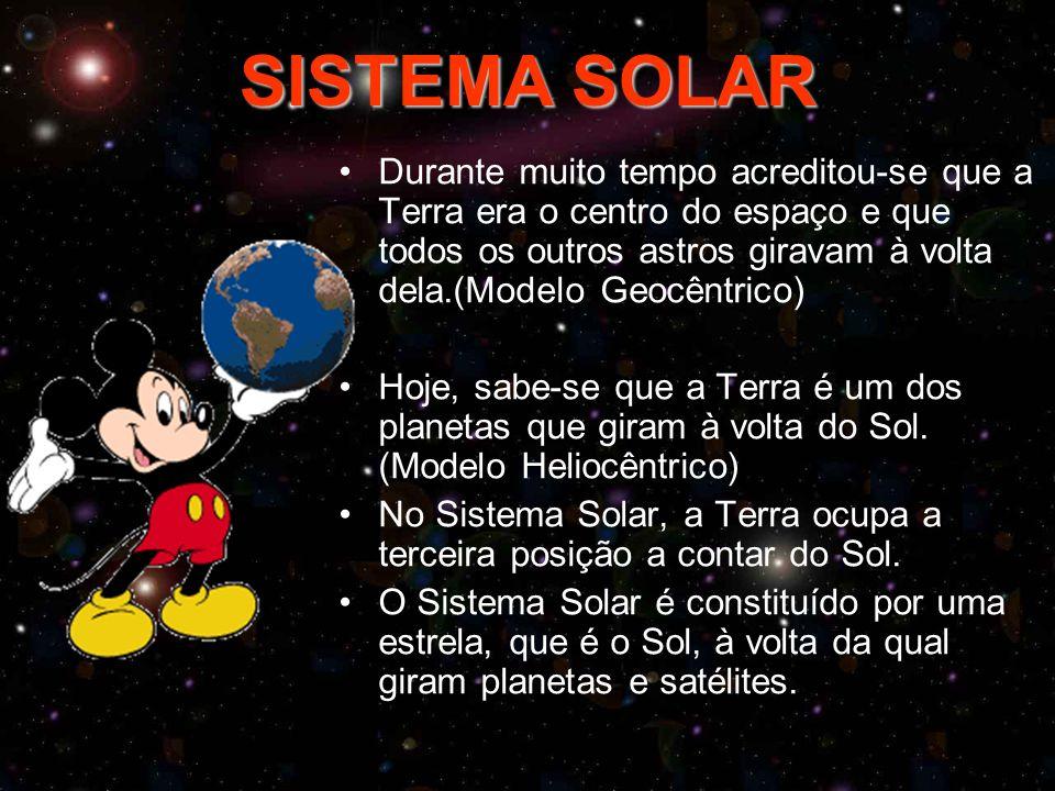 SISTEMA SOLAR Durante muito tempo acreditou-se que a Terra era o centro do espaço e que todos os outros astros giravam à volta dela.(Modelo Geocêntrico) Hoje, sabe-se que a Terra é um dos planetas que giram à volta do Sol.