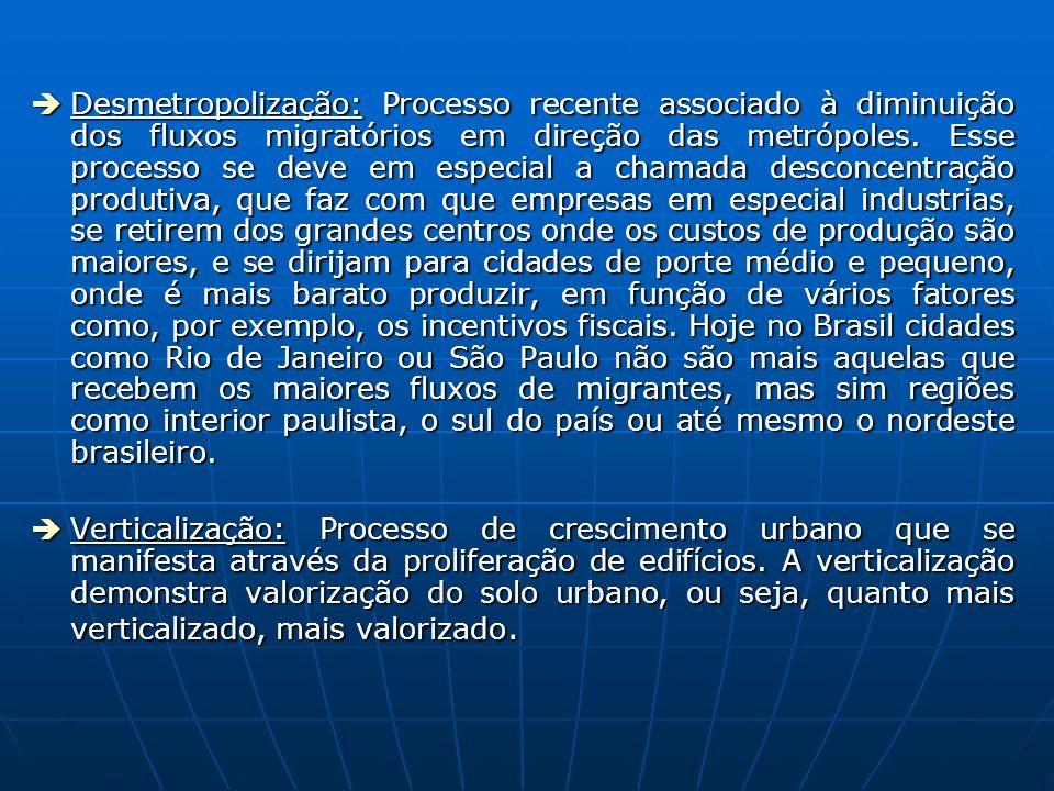 Desmetropolização: Processo recente associado à diminuição dos fluxos migratórios em direção das metrópoles.