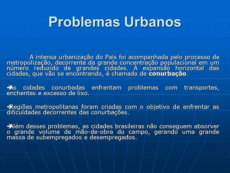Problemas Urbanos A intensa urbanização do País foi acompanhada pelo processo de metropolização, decorrente da grande concentração populacional em um número reduzido de grandes cidades.