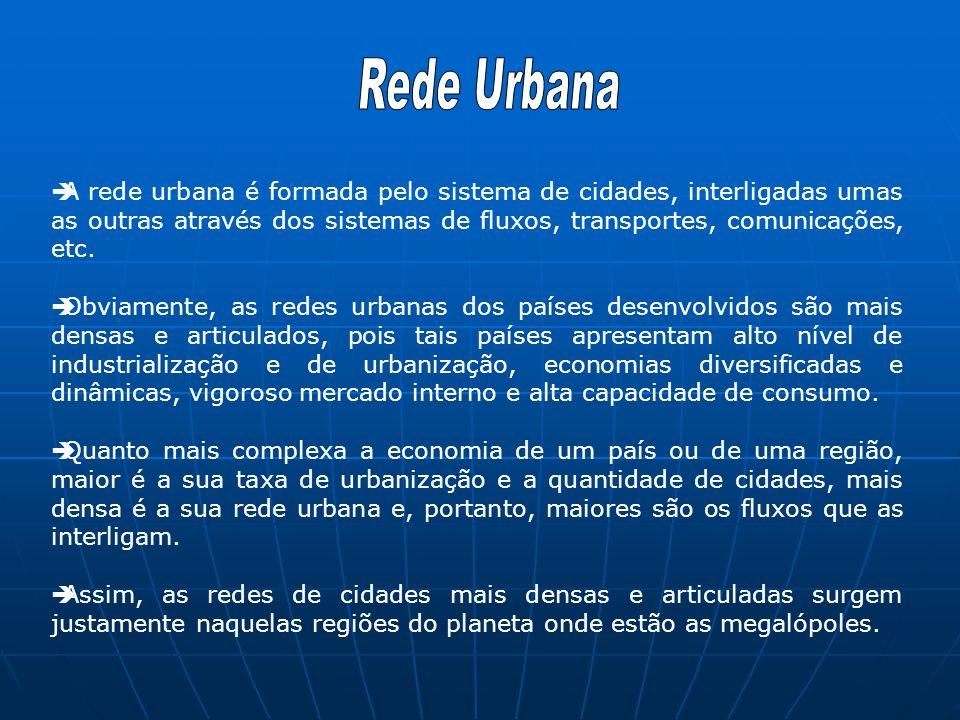 A rede urbana é formada pelo sistema de cidades, interligadas umas as outras através dos sistemas de fluxos, transportes, comunicações, etc.