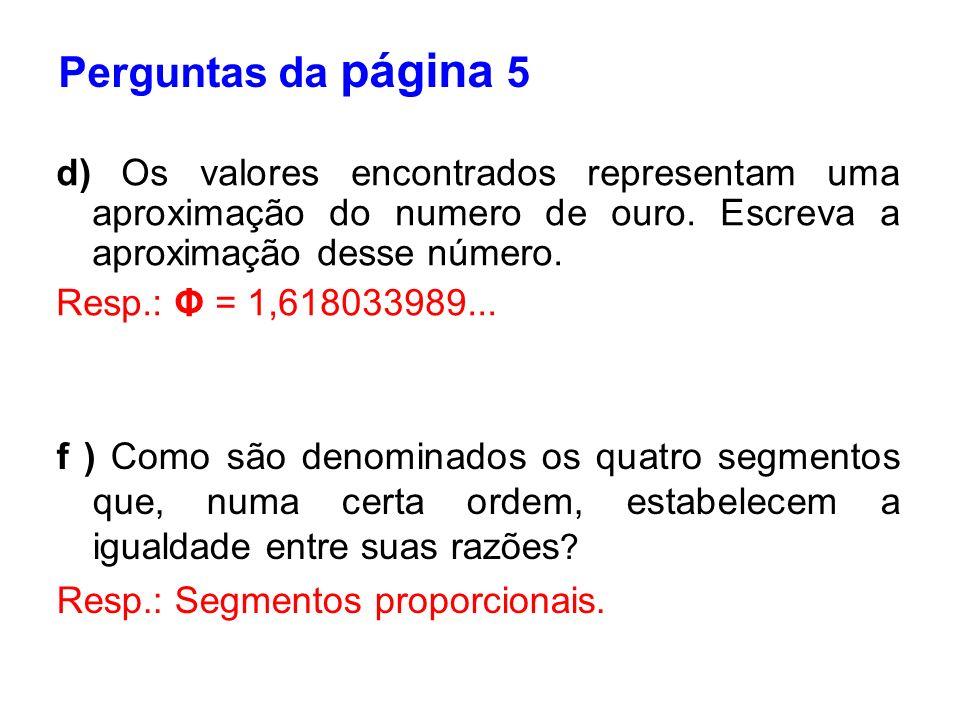 d) Os valores encontrados representam uma aproximação do numero de ouro. Escreva a aproximação desse número. Resp.: Φ = 1,618033989... Perguntas da pá
