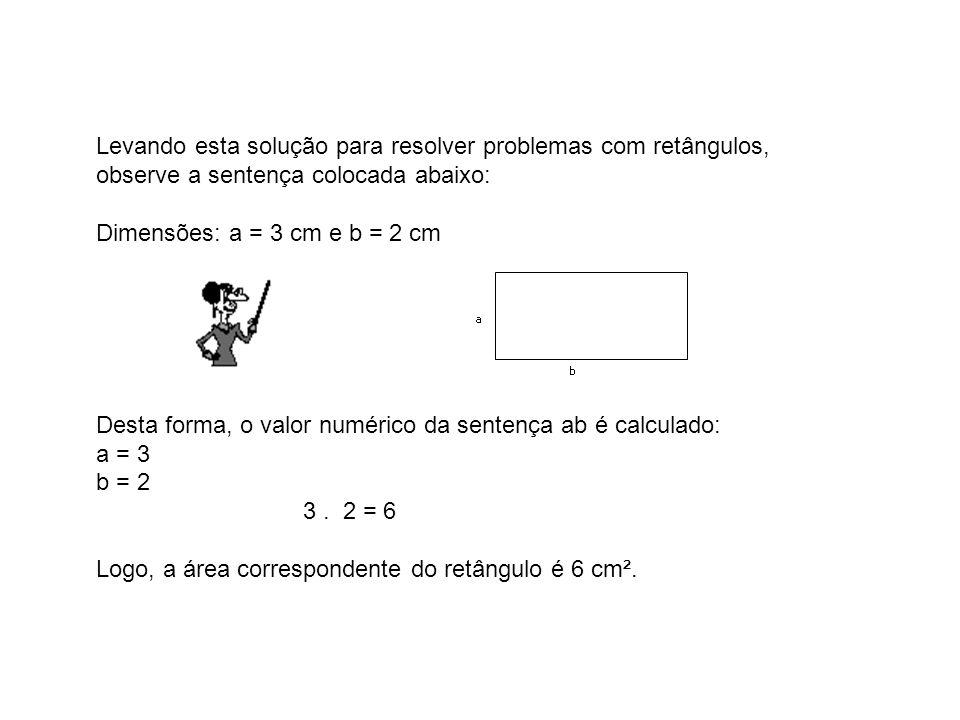 Levando esta solução para resolver problemas com retângulos, observe a sentença colocada abaixo: Dimensões: a = 3 cm e b = 2 cm Desta forma, o valor n