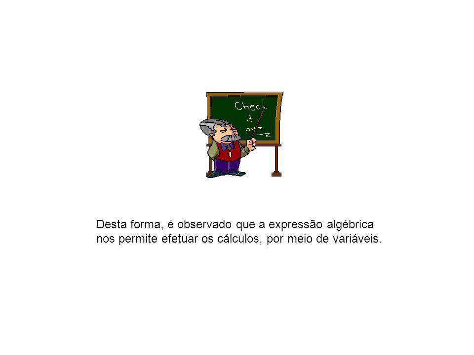Desta forma, é observado que a expressão algébrica nos permite efetuar os cálculos, por meio de variáveis.