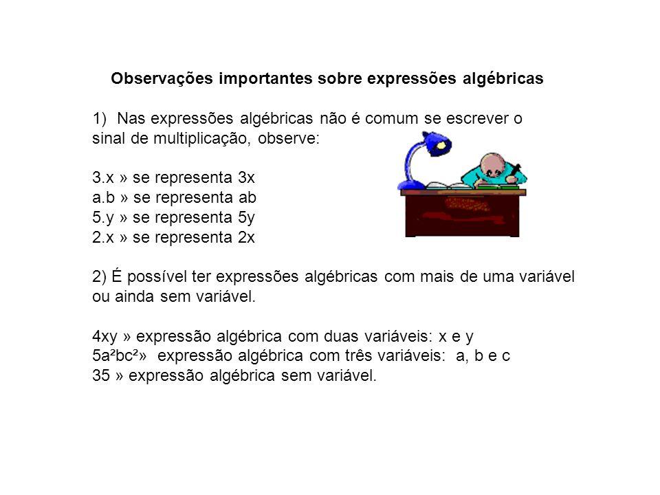 Observações importantes sobre expressões algébricas 1)Nas expressões algébricas não é comum se escrever o sinal de multiplicação, observe: 3.x » se re