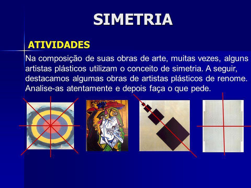 SIMETRIA ATIVIDADES Na composição de suas obras de arte, muitas vezes, alguns artistas plásticos utilizam o conceito de simetria. A seguir, destacamos