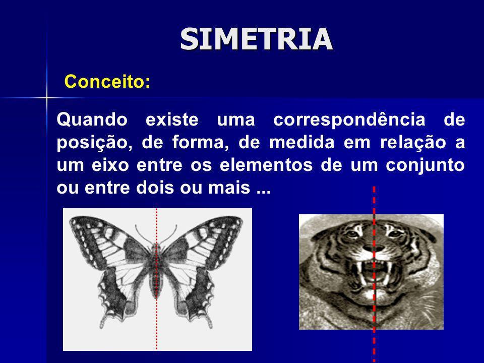 SIMETRIA Quando existe uma correspondência de posição, de forma, de medida em relação a um eixo entre os elementos de um conjunto ou entre dois ou mai