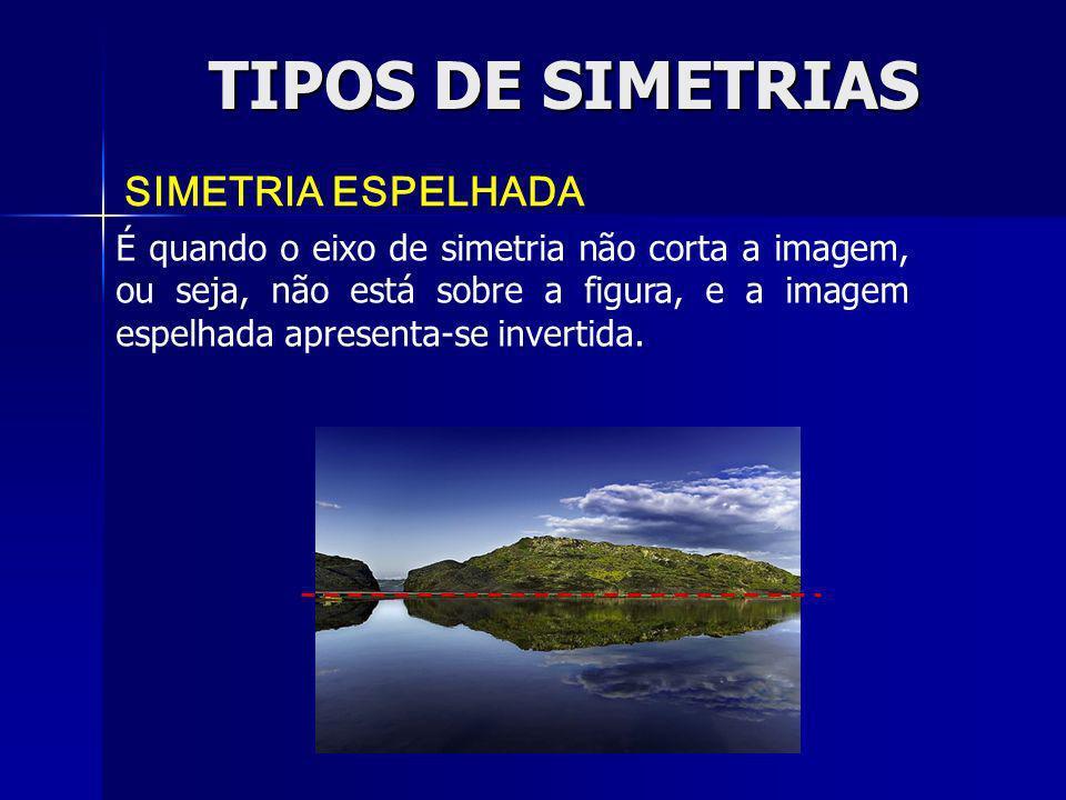 TIPOS DE SIMETRIAS SIMETRIA ESPELHADA É quando o eixo de simetria não corta a imagem, ou seja, não está sobre a figura, e a imagem espelhada apresenta
