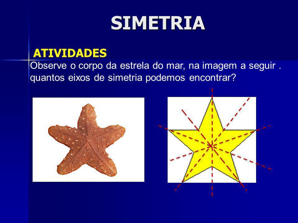 SIMETRIA ATIVIDADES Observe o corpo da estrela do mar, na imagem a seguir. quantos eixos de simetria podemos encontrar?