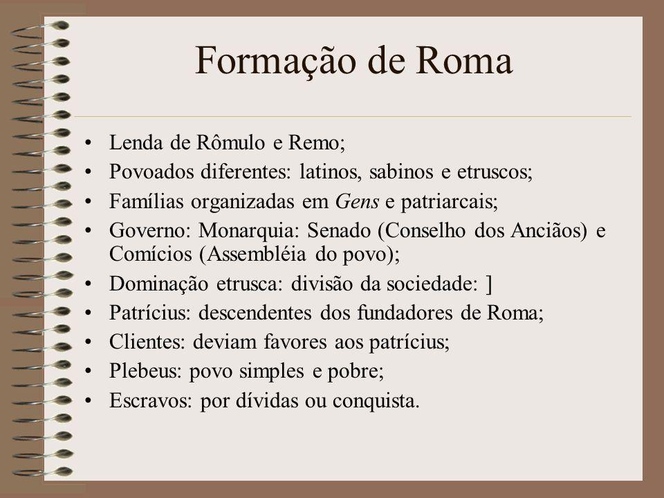 Formação de Roma Lenda de Rômulo e Remo; Povoados diferentes: latinos, sabinos e etruscos; Famílias organizadas em Gens e patriarcais; Governo: Monarq