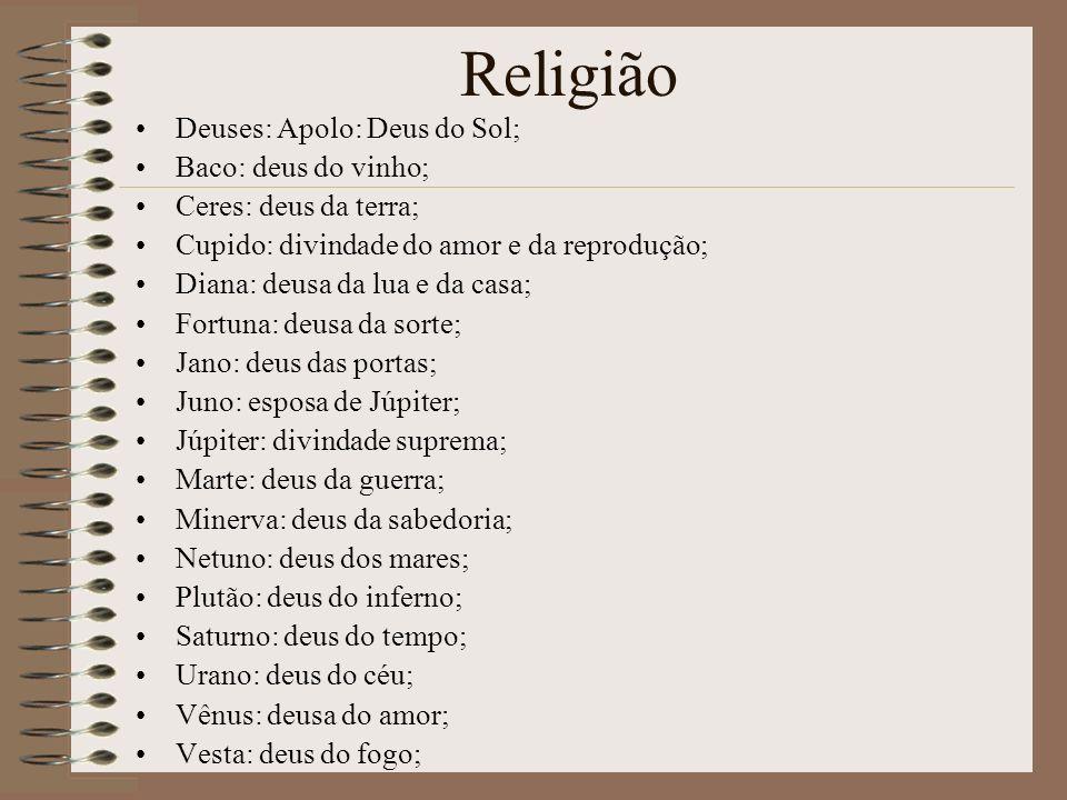 Religião Deuses: Apolo: Deus do Sol; Baco: deus do vinho; Ceres: deus da terra; Cupido: divindade do amor e da reprodução; Diana: deusa da lua e da ca