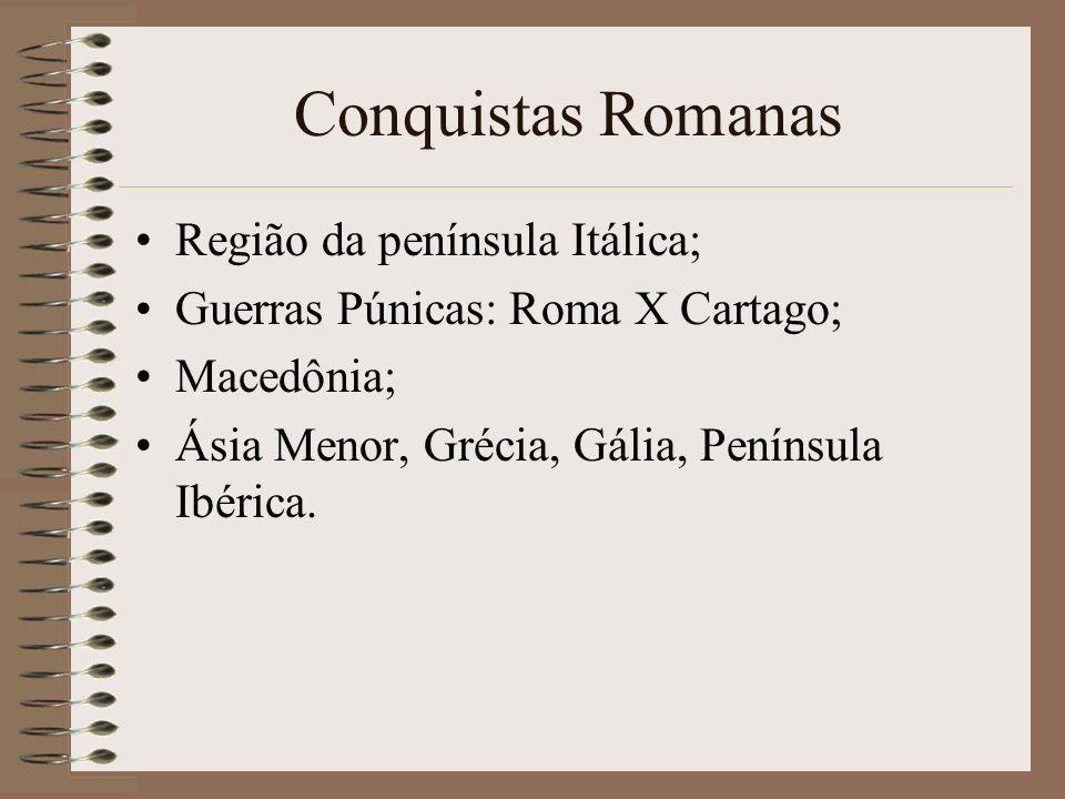 Conquistas Romanas Região da península Itálica; Guerras Púnicas: Roma X Cartago; Macedônia; Ásia Menor, Grécia, Gália, Península Ibérica.