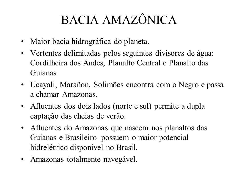BACIA AMAZÔNICA Maior bacia hidrográfica do planeta. Vertentes delimitadas pelos seguintes divisores de água: Cordilheira dos Andes, Planalto Central