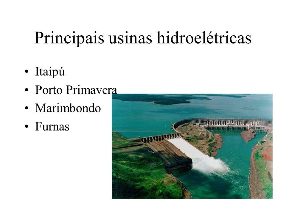Principais usinas hidroelétricas Itaipú Porto Primavera Marimbondo Furnas