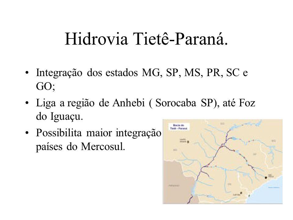 Hidrovia Tietê-Paraná. Integração dos estados MG, SP, MS, PR, SC e GO; Liga a região de Anhebi ( Sorocaba SP), até Foz do Iguaçu. Possibilita maior in