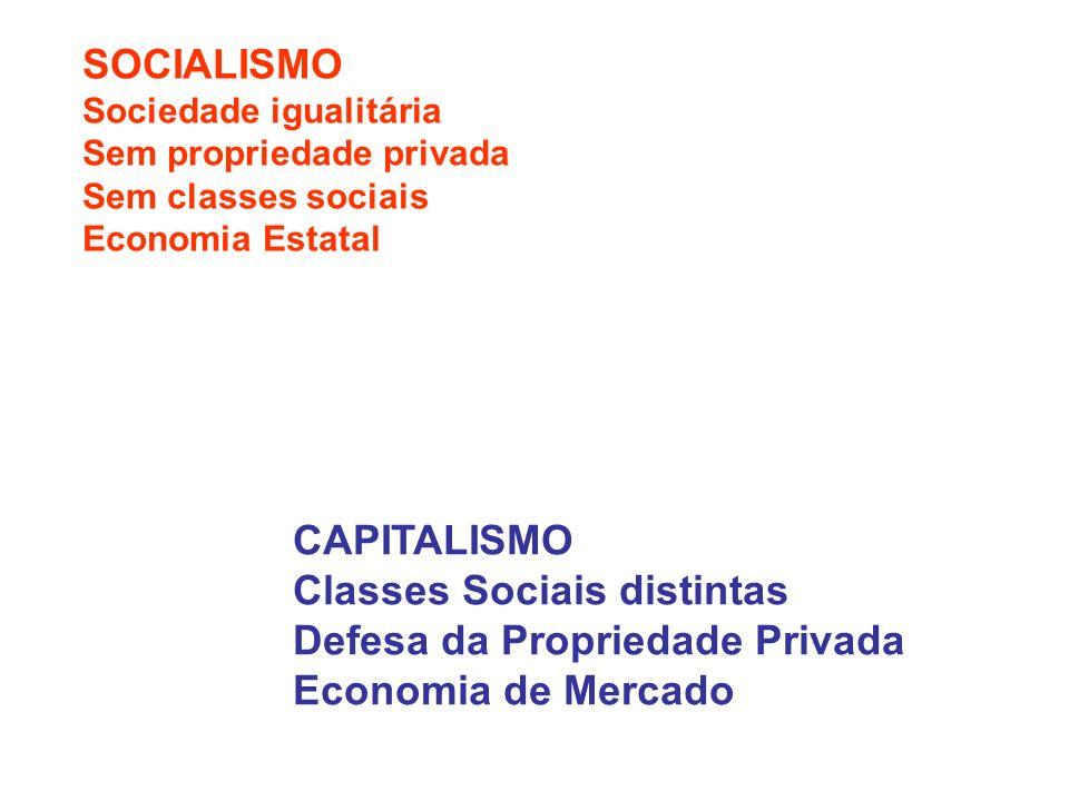 SOCIALISMO Sociedade igualitária Sem propriedade privada Sem classes sociais Economia Estatal CAPITALISMO Classes Sociais distintas Defesa da Propriedade Privada Economia de Mercado