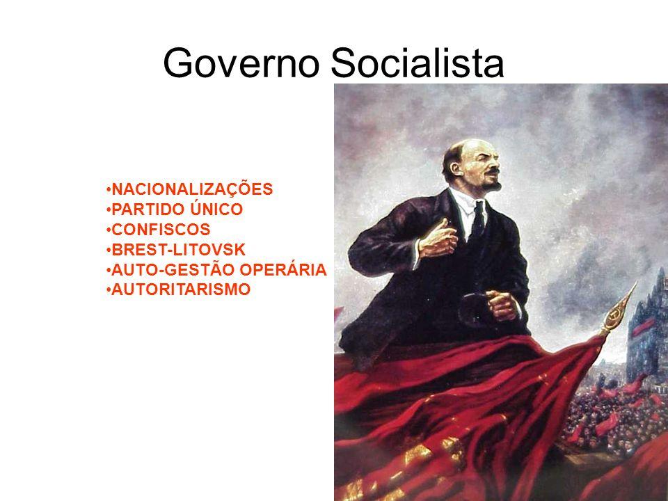 Governo Socialista NACIONALIZAÇÕES PARTIDO ÚNICO CONFISCOS BREST-LITOVSK AUTO-GESTÃO OPERÁRIA AUTORITARISMO