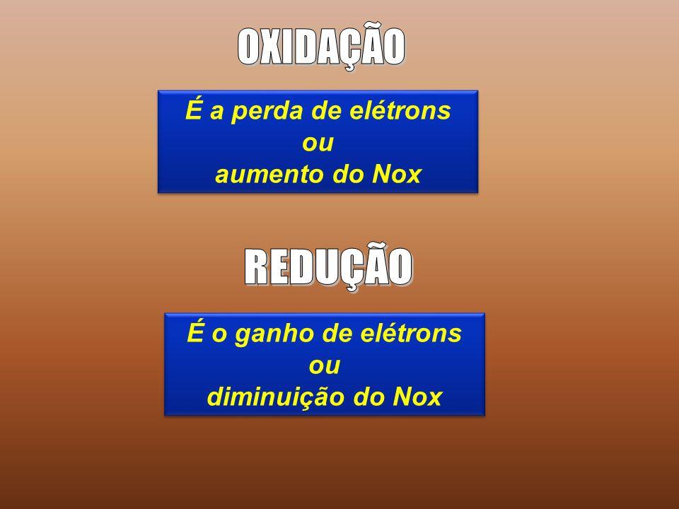 É a perda de elétrons ou aumento do Nox É a perda de elétrons ou aumento do Nox É o ganho de elétrons ou diminuição do Nox É o ganho de elétrons ou diminuição do Nox