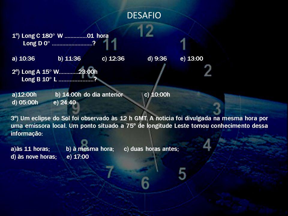 Exemplos: Long 60ºW.............3:00h Long 30ºL ………………….? a)12:00h Calculando: 60+30=90÷15=6+3=9 b)14:00h do dia anterior c)10:00h d)05:00h e)09:00h (
