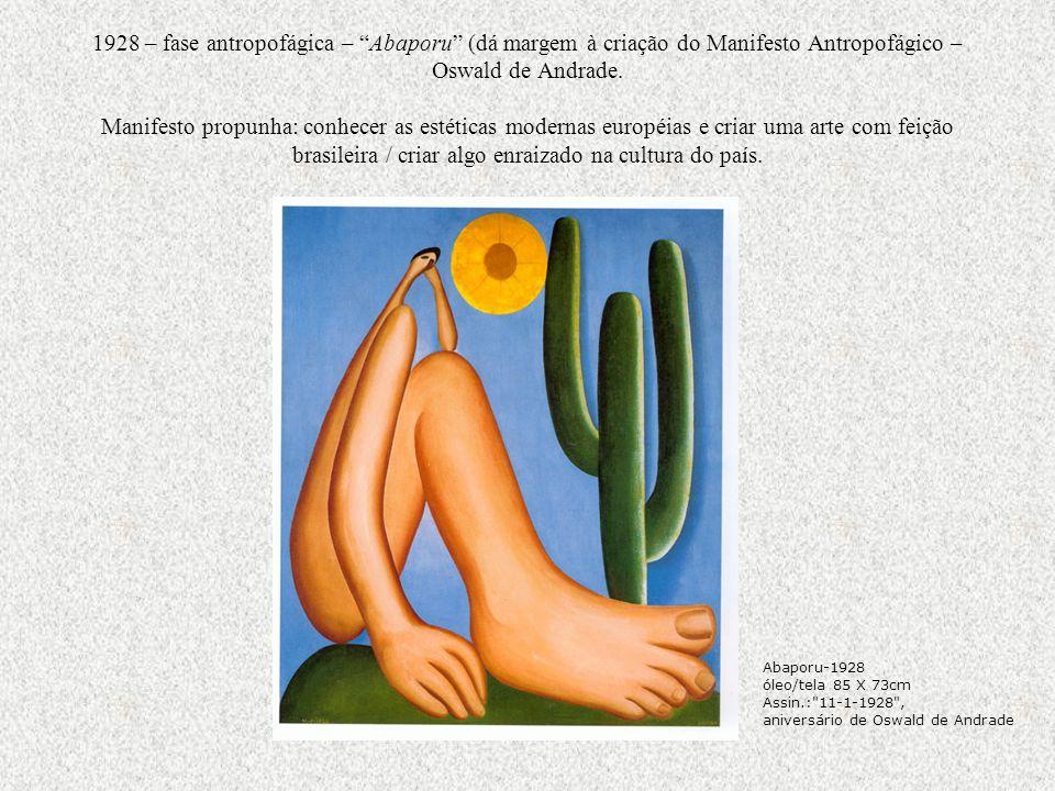 1928 – fase antropofágica – Abaporu (dá margem à criação do Manifesto Antropofágico – Oswald de Andrade. Manifesto propunha: conhecer as estéticas mod
