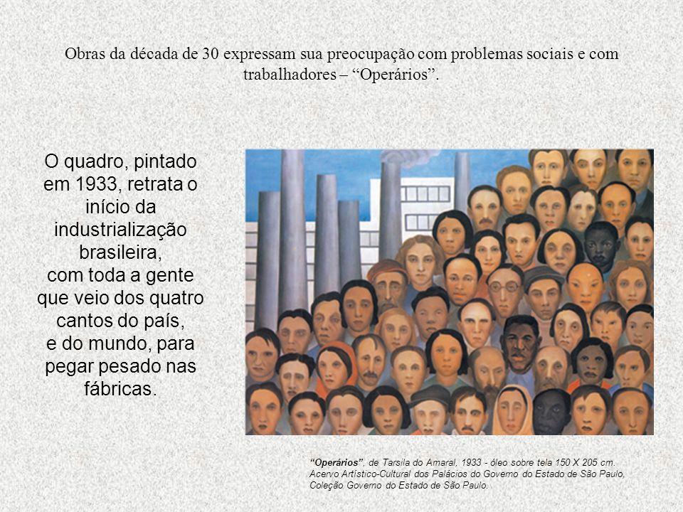 Obras da década de 30 expressam sua preocupação com problemas sociais e com trabalhadores – Operários. O quadro, pintado em 1933, retrata o início da