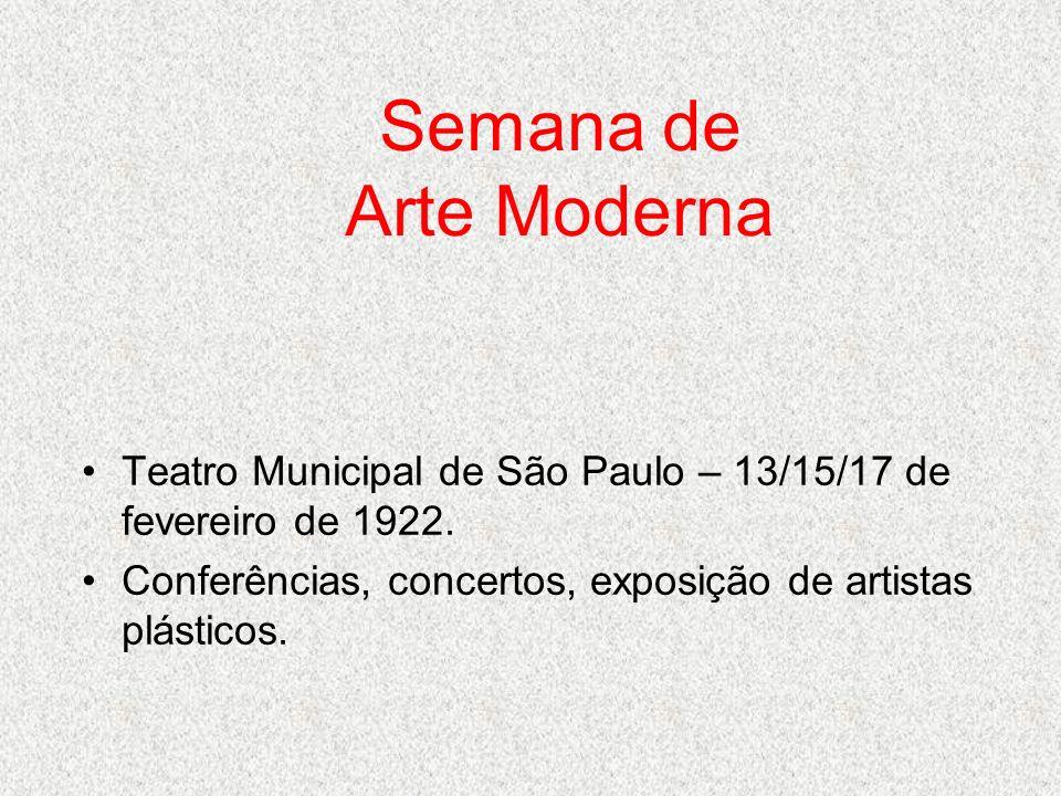 Semana de Arte Moderna Teatro Municipal de São Paulo – 13/15/17 de fevereiro de 1922. Conferências, concertos, exposição de artistas plásticos.