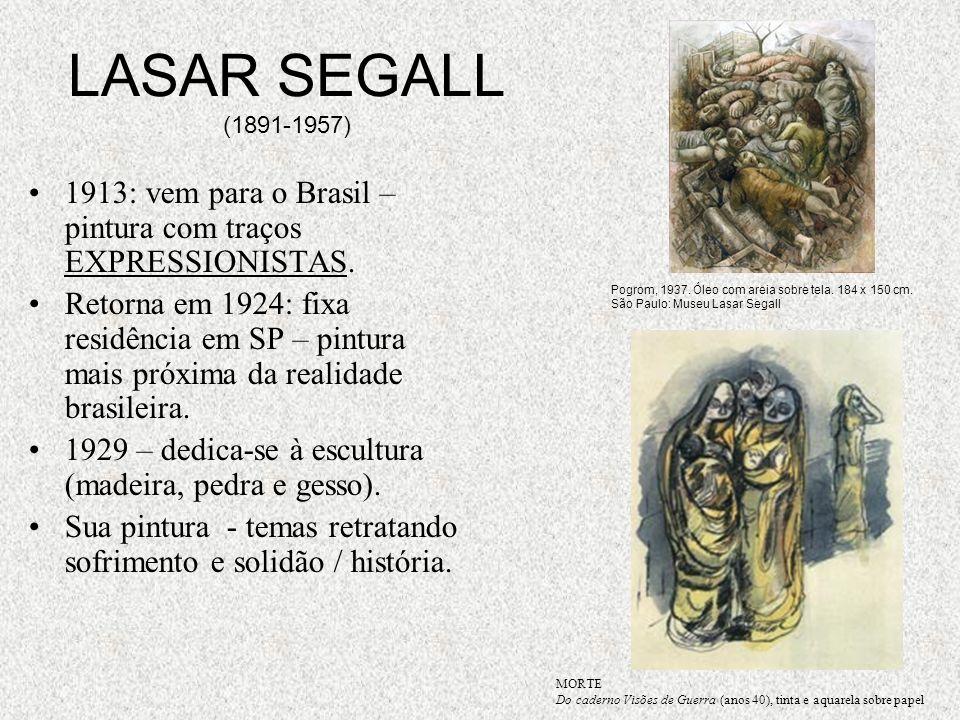 LASAR SEGALL (1891-1957) 1913: vem para o Brasil – pintura com traços EXPRESSIONISTAS. Retorna em 1924: fixa residência em SP – pintura mais próxima d
