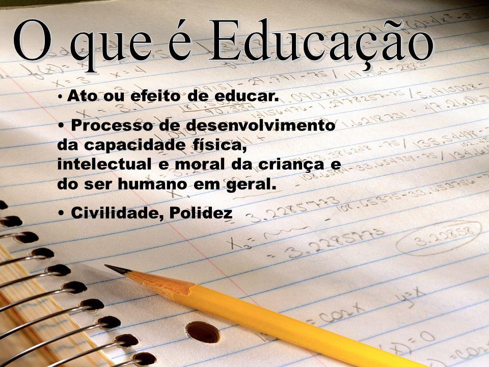 Ato ou efeito de educar. Processo de desenvolvimento da capacidade física, intelectual e moral da criança e do ser humano em geral. Civilidade, Polide