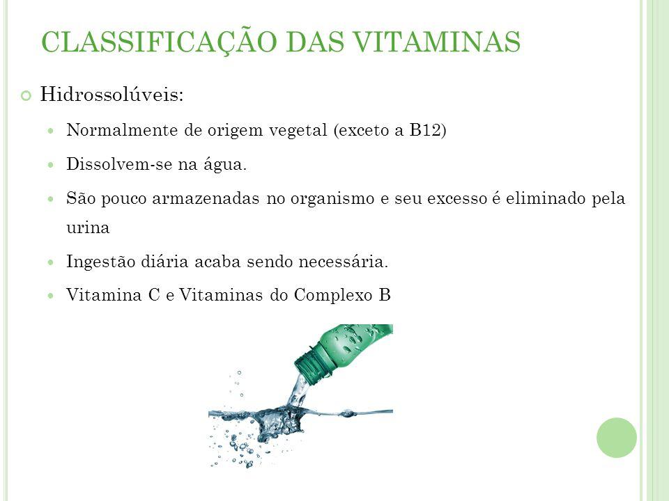 CLASSIFICAÇÃO DAS VITAMINAS Hidrossolúveis: Normalmente de origem vegetal (exceto a B12) Dissolvem-se na água.