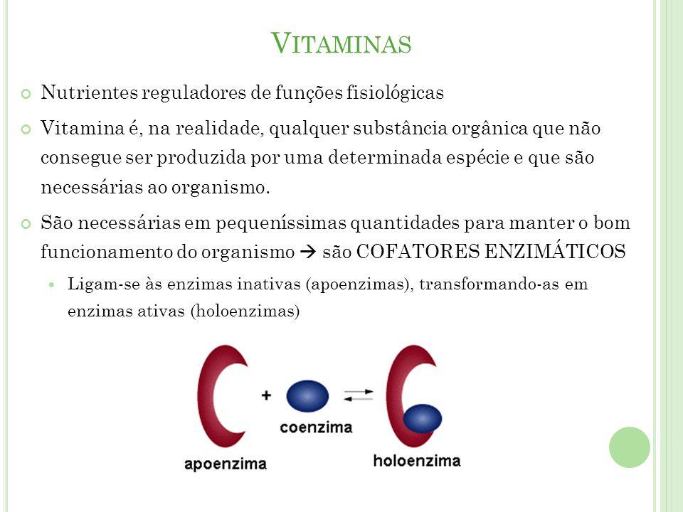 V ITAMINAS Nutrientes reguladores de funções fisiológicas Vitamina é, na realidade, qualquer substância orgânica que não consegue ser produzida por uma determinada espécie e que são necessárias ao organismo.