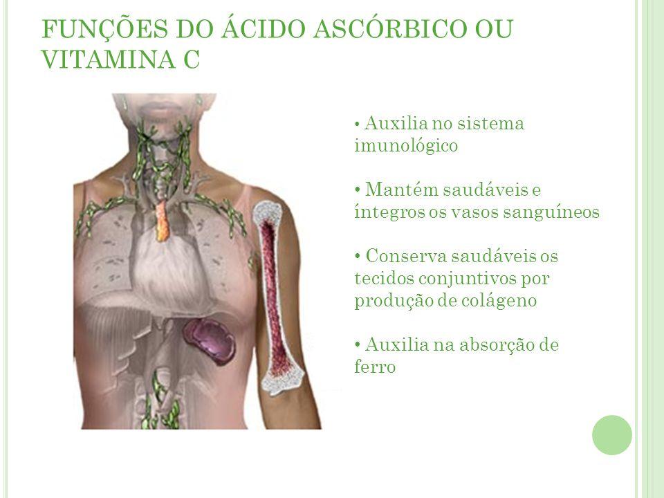 FUNÇÕES DO ÁCIDO ASCÓRBICO OU VITAMINA C Auxilia no sistema imunológico Mantém saudáveis e íntegros os vasos sanguíneos Conserva saudáveis os tecidos conjuntivos por produção de colágeno Auxilia na absorção de ferro