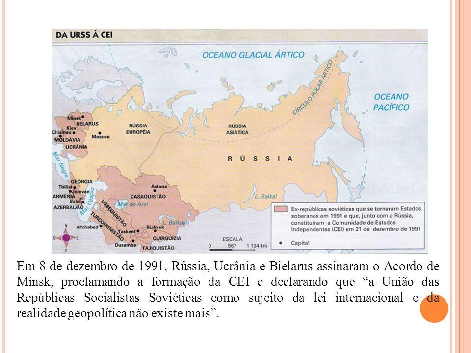 Em 8 de dezembro de 1991, Rússia, Ucrânia e Bielarus assinaram o Acordo de Minsk, proclamando a formação da CEI e declarando que a União das República