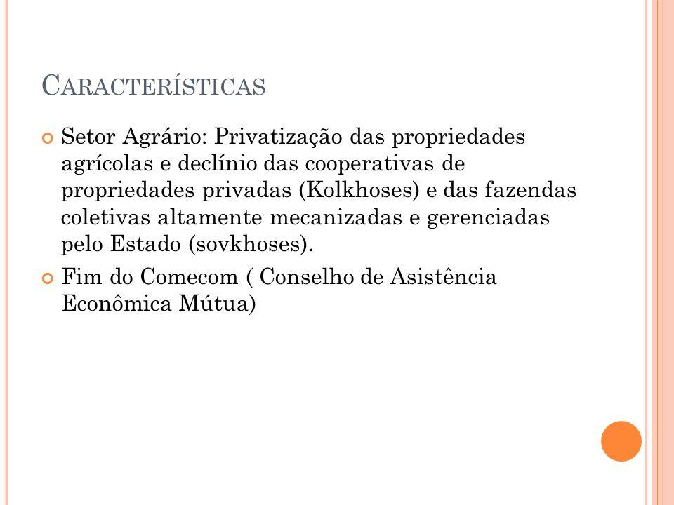 C ARACTERÍSTICAS Setor Agrário: Privatização das propriedades agrícolas e declínio das cooperativas de propriedades privadas (Kolkhoses) e das fazenda
