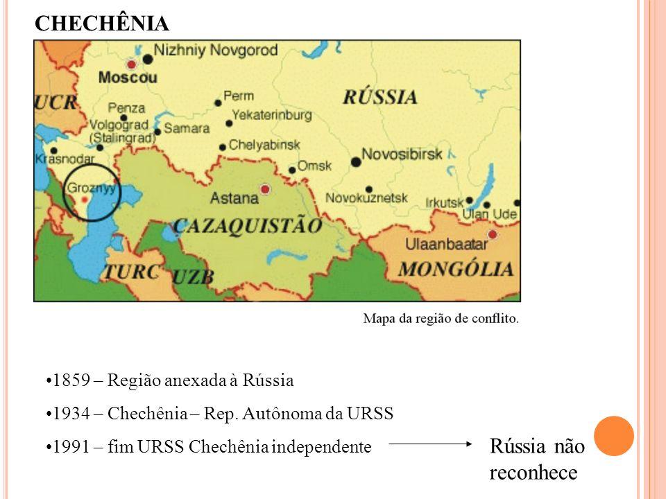 CHECHÊNIA 1859 – Região anexada à Rússia 1934 – Chechênia – Rep. Autônoma da URSS 1991 – fim URSS Chechênia independente Rússia não reconhece