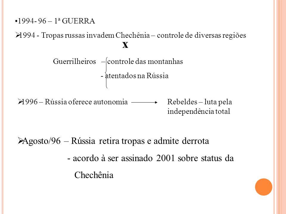 1994- 96 – 1ª GUERRA 1994 - Tropas russas invadem Chechênia – controle de diversas regiões x Guerrilheiros – controle das montanhas - atentados na Rús