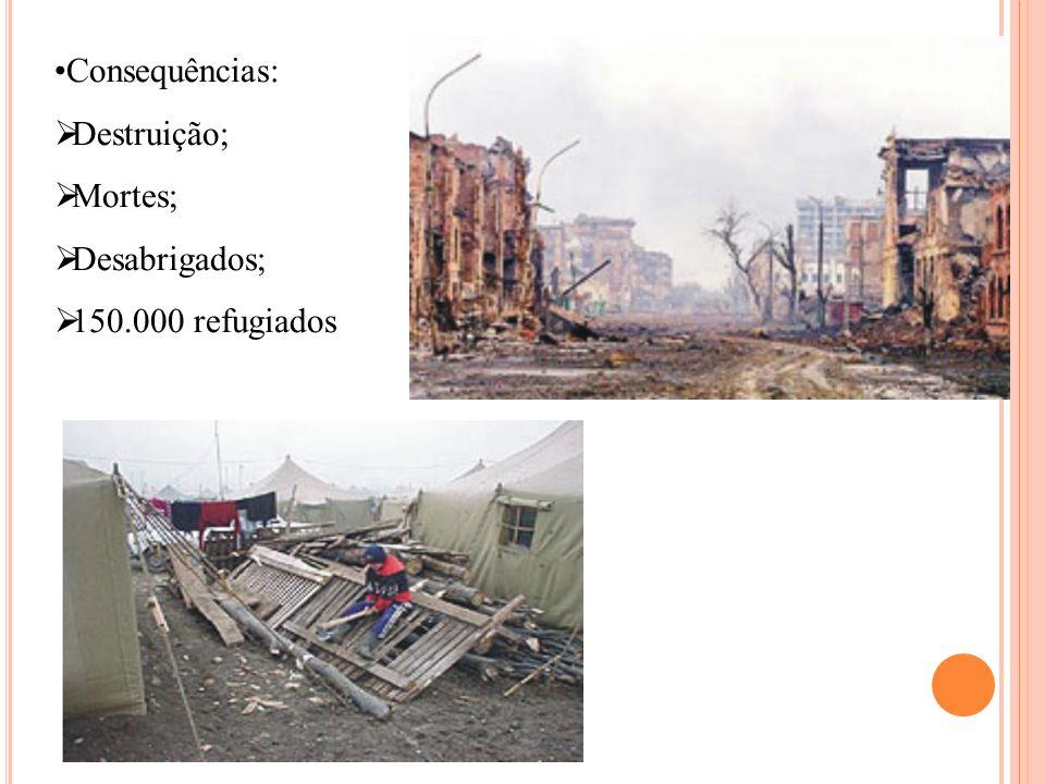 Consequências: Destruição; Mortes; Desabrigados; 150.000 refugiados