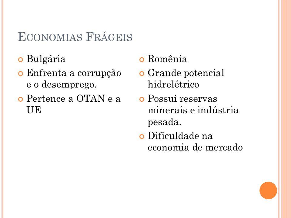 E CONOMIAS F RÁGEIS Bulgária Enfrenta a corrupção e o desemprego. Pertence a OTAN e a UE Romênia Grande potencial hidrelétrico Possui reservas minerai