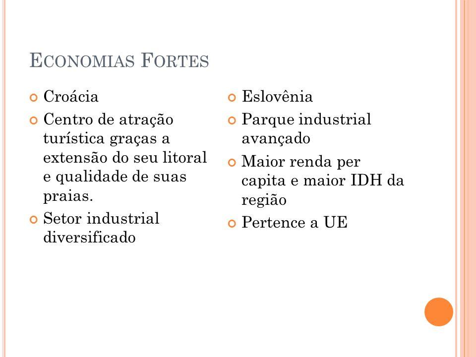 E CONOMIAS F ORTES Croácia Centro de atração turística graças a extensão do seu litoral e qualidade de suas praias. Setor industrial diversificado Esl