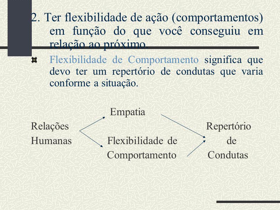 2. Ter flexibilidade de ação (comportamentos) em função do que você conseguiu em relação ao próximo. Flexibilidade de Comportamento significa que devo