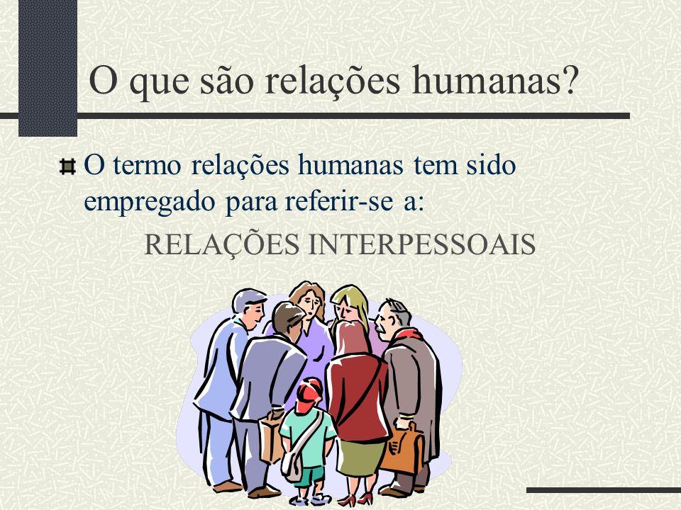 O que são relações humanas? O termo relações humanas tem sido empregado para referir-se a: RELAÇÕES INTERPESSOAIS