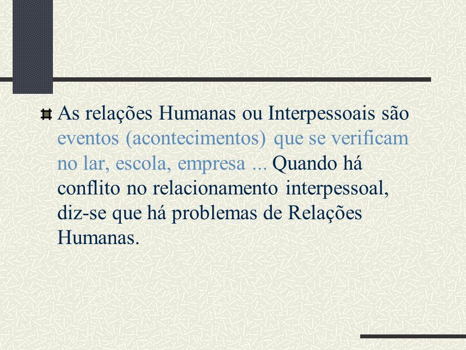 As relações Humanas ou Interpessoais são eventos (acontecimentos) que se verificam no lar, escola, empresa... Quando há conflito no relacionamento int