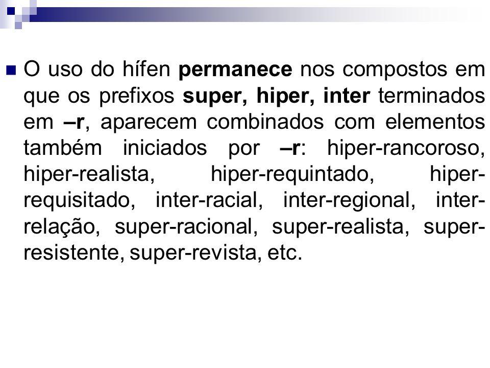 O uso do hífen permanece nos compostos em que os prefixos super, hiper, inter terminados em –r, aparecem combinados com elementos também iniciados por