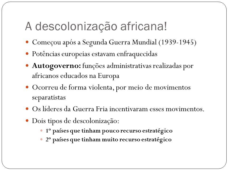A descolonização africana! Começou após a Segunda Guerra Mundial (1939-1945) Potências europeias estavam enfraquecidas Autogoverno: funções administra