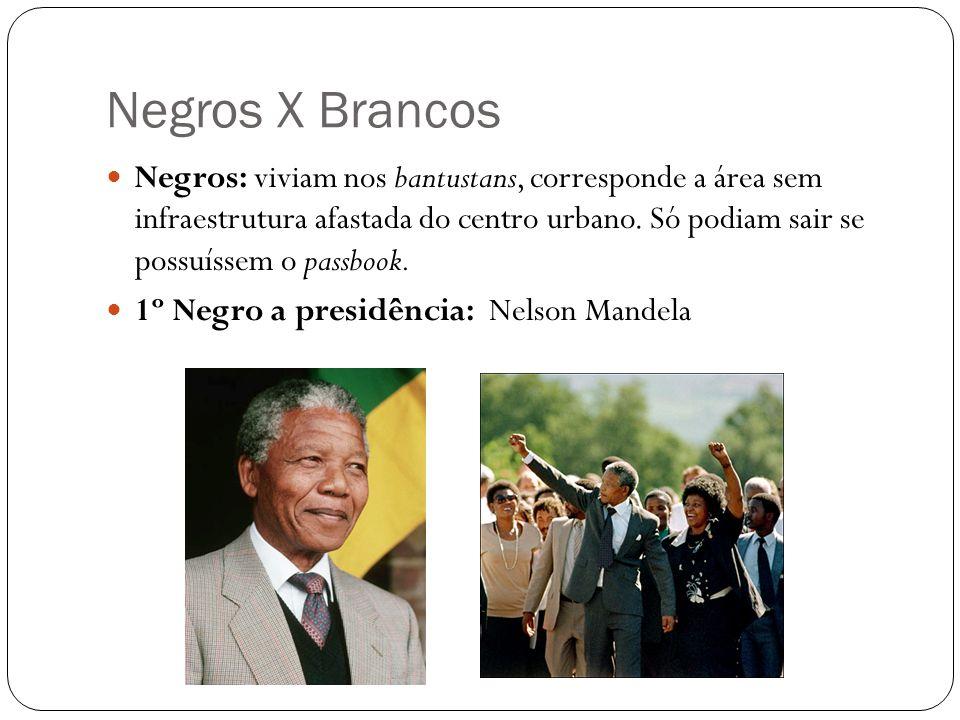 Negros X Brancos Negros: viviam nos bantustans, corresponde a área sem infraestrutura afastada do centro urbano. Só podiam sair se possuíssem o passbo