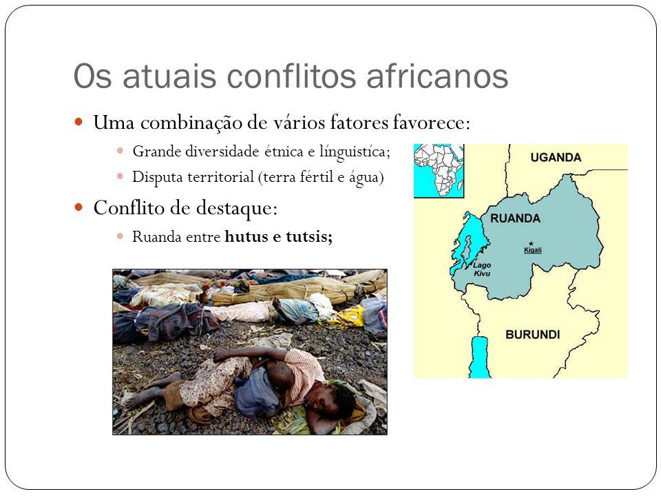 Os atuais conflitos africanos Uma combinação de vários fatores favorece: Grande diversidade étnica e línguistíca; Disputa territorial (terra fértil e
