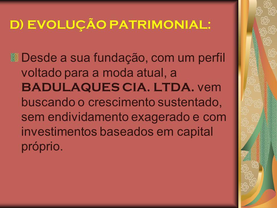 D) EVOLUÇÃO PATRIMONIAL: Desde a sua fundação, com um perfil voltado para a moda atual, a BADULAQUES CIA. LTDA. vem buscando o crescimento sustentado,
