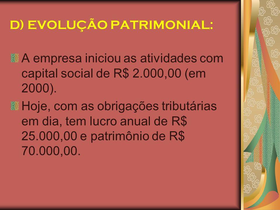 D) EVOLUÇÃO PATRIMONIAL: A empresa iniciou as atividades com capital social de R$ 2.000,00 (em 2000). Hoje, com as obrigações tributárias em dia, tem